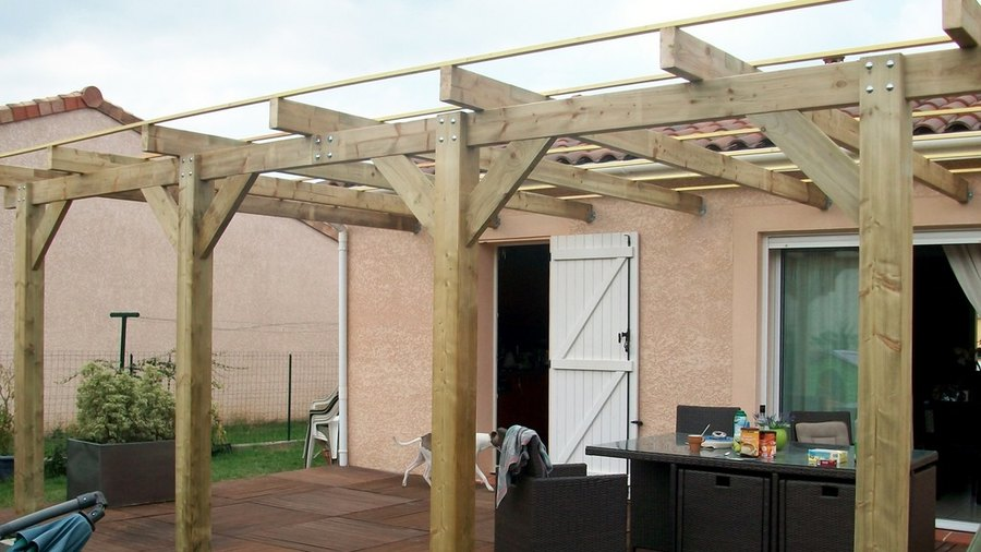 plan pergola bois adosse construire pergola bois d une en maison with plan pergola bois adosse. Black Bedroom Furniture Sets. Home Design Ideas